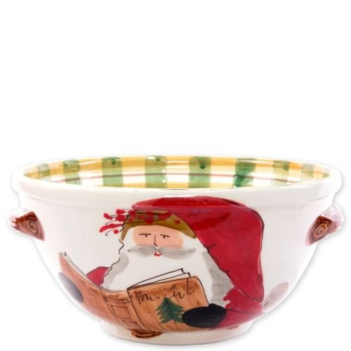 (Vietri Old St. Nick Handled Medium Bowl, Festive Dish Handpainted w/Santa Reading)