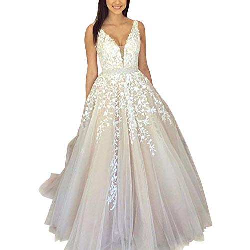 ABaowedding Women's Wedding Dress for Bride Lace Applique Evening Dress V Neck Straps Ball Gowns Ivory US 4