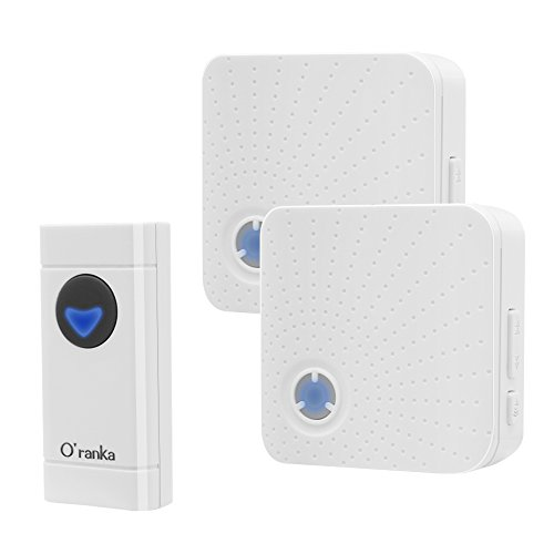 Oranka Wireless Doorbell, Door Chime Kit Alert Device with 1 Waterproof Remote Button and 2 Plugin Receivers Operating at over 1000-Feet Range, No Batteries Required for Receivers,LED Flash -  O´ranka, 726853571848