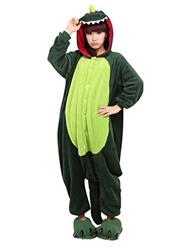 2016 Halloween Costumes Unisex-adult Cosplay Onesie Green Fire Dragon Pajamas