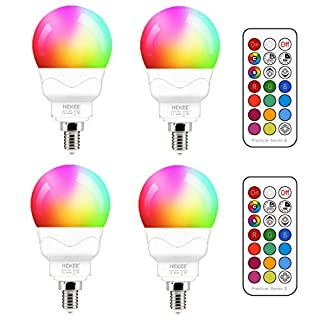 E12 LED Light Bulbs (40w Equivalent) 5W, Color Changing RGB, Small Base Candelabra Round Light Bulb, A15 Candle Base, 5700K White 12 Colors 2 Modes Timing with Remote Control (4 Pack)