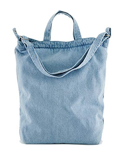 BAGGU Duck Bag Canvas Tote, Essential Tote, Spacious and Roomy, Light Denim