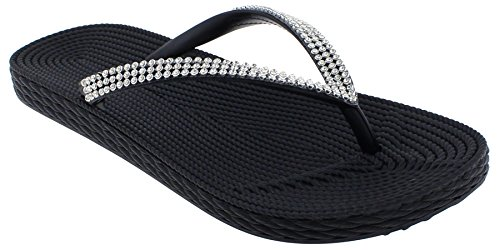 Capelli New York Ladies Fashion Flip Flops with Rhinestone Trim Black -