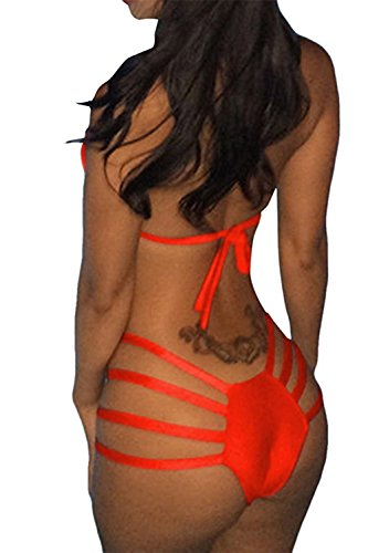 Bikifree Comfortable Women's Bandage Halter Neck Brazilian Triangle Bikini Set Swimsuit A-orangeM(US...