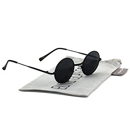 John Lennon Hipster Fashion Sunglasses Small Metal Round Circle Elton Style (Black Black Lens, - Black Sunglasses Circle