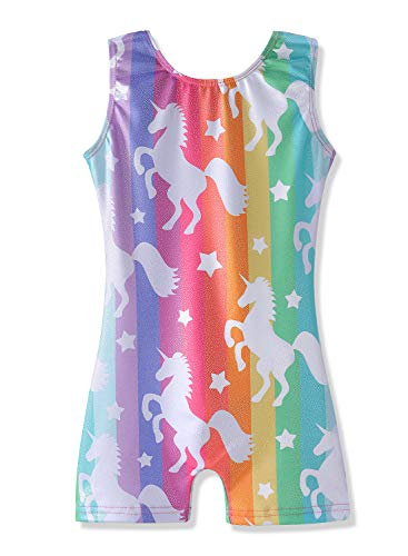 HOZIY Gymnastics Leotards for Girls with Shorts Size 6-7 Years Old Sparkly Dancewear -