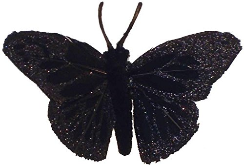Package of 12 Black Glittered Artificial Butterflies With Attached Wire for Floral Arranging and Designing