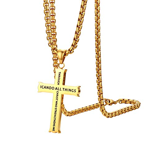 Cupimatch Philippians 4:13 Cross Pendant Necklace, Stainless Steel Strength Bible Verse Crucifix Jewelry with 22 inch Chain Gold