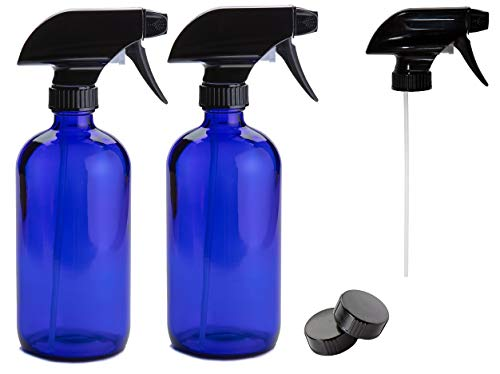 Grade Spray - 16 oz Cobalt Glass Spray Bottles [2 count], Food Grade, BPA and Lead Free with reliable black mist or stream sprayer [3 included]. Great for all uses from Essential Oils, to Organics
