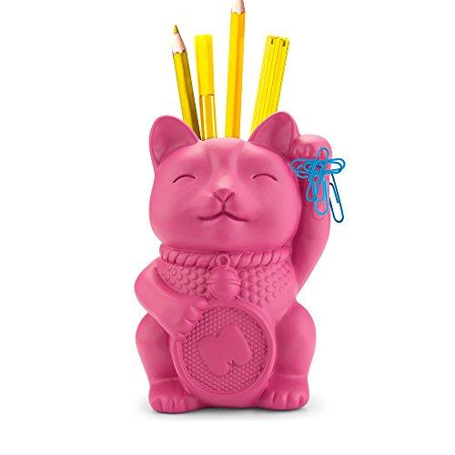 Mustard Lucky Cat Pen Pot Pink