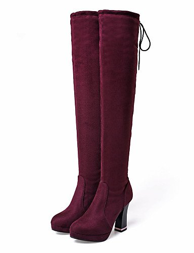 Negro 5 Eu42 Uk8 Vestido De Casual us10 Botas Punta Mujer La Zapatos Cn43 Rojo Tacón Red 5 Xzz Redonda Spool A Vellón Moda Ugq6Hxw