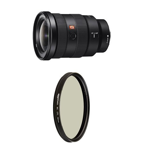 Sony SEL1635GM 16-35mm f/2.8-22 Zoom Camera Lens, Black  and Circular Polarizer Lens - 82 mm