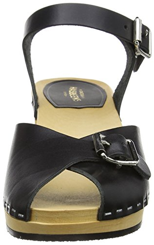 Hasbeens Women's Sandals Open Debutant Swedish Toe Black Pia tqxwnYn8Id