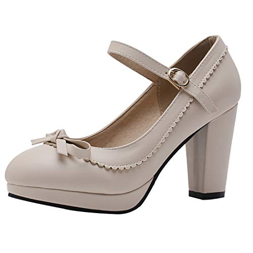 Vitalo Womens Vintage Rockabilly Shoes Mary Jane Chunky High Heels Platform Pumps with Bowtie Size 7.5 B(M) US,2 Taupe
