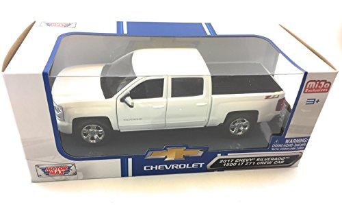 Motormax 2017 Chevy Silverado 1500 LT Z71 Crew Cab Pickup Truck 1/24 Scale Diecast Model Car White (Model Silverado Chevy Scale)