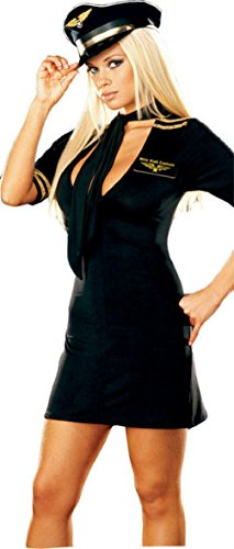 Women's Sexy Mile High Captain Air Pilot Adult Costume Medium 8-10