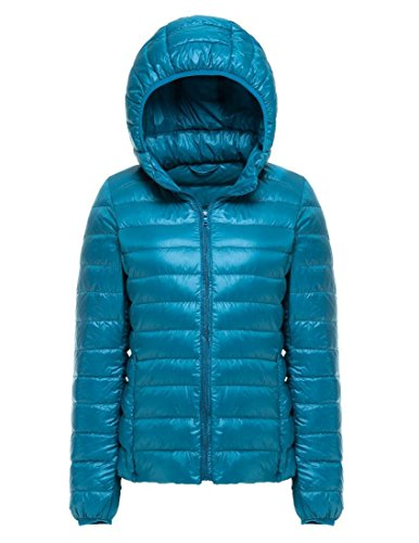 Women's Lightweight Packable Hooded Down Jacket Puffer Coat Stormy Blue L (Tag)