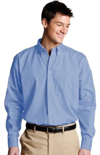 Drawstring Edwards Sweatshirt - Edwards Garment Men's Long Sleeve Button Down Poplin Shirt_DENIM BLUE_XX-Large 35