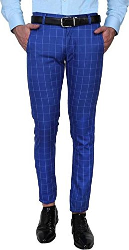 One Click Men S Slim Fit Blue Check Formal Trousers 32 Amazon In