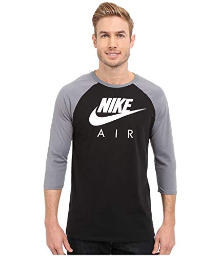 Nike Men's Air 3/4 Raglan Tee, Black/Cool Grey/White, SM