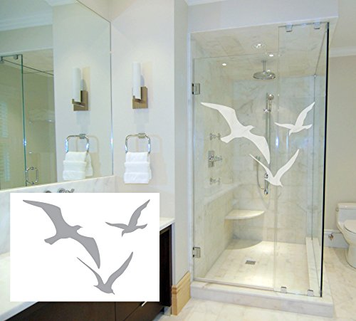 (3 Seagulls - Coastal Design Series - Etched Decal - For Shower Doors, Glass Doors and Windows - 20