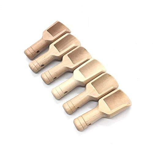 6PCS Mini Wooden Scoops for Bath Salts Essential 75X25X19mm]()