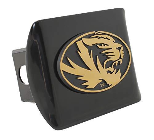 AMG Auto Emblems University of Missouri Tigers Metal Emblem on Black Metal Hitch Cover