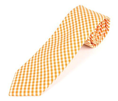 Men's Cotton Skinny Necktie Tie Gingham Checkered Pattern - (Orange Pattern Tie)
