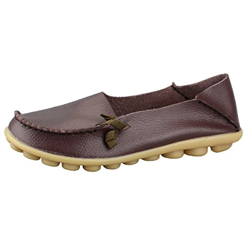 Fisca piel de la mujer Mocasín Loafer Flat Shoes Coffee