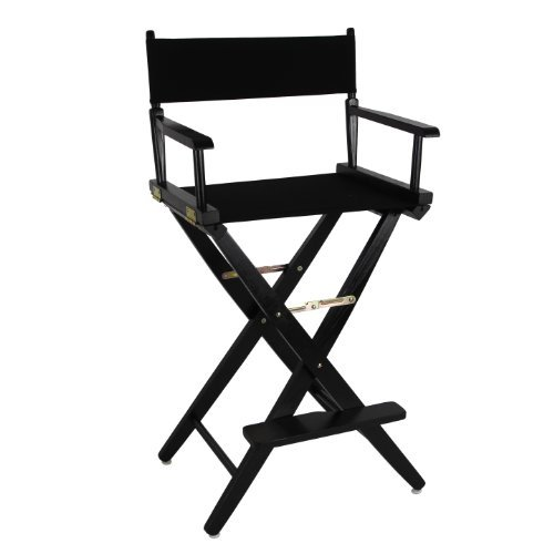 American Trails Extra-Wide Premium 30'' Director's Chair Black Frame with Black Canvas, Bar Height