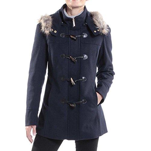 Blue Winter Coat Jacket (alpine swiss Duffy Women's Navy Wool Coat Fur Trim Hooded Parka Jacket Medium)