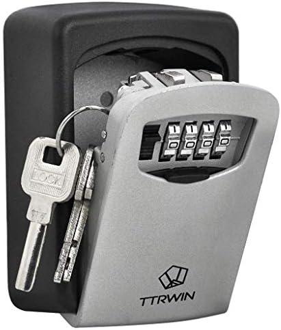 TTRWIN Sichere Schlüsselbox Schlüsselsafe Schlüsseltresor, mit 4-stelligem Hochcodeschloss Große Schlüsselbox, Zinklegierung wasserdicht und rostfrei, Wandschlüsselbox für den Innen- und Außenbereich