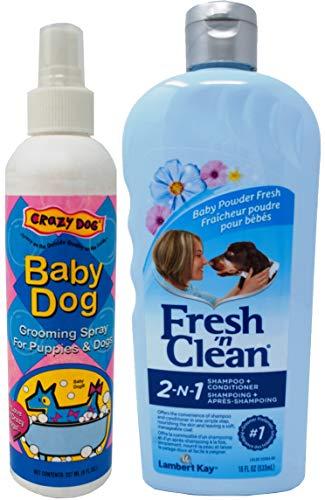 (Fresh N Clean Classic Baby Powder Scent Shampoo Plus Spritz Bundle: (1) 2-N-1 Shampoo (1) Crazy Dog Grooming Spray, 8-18 Ounces)