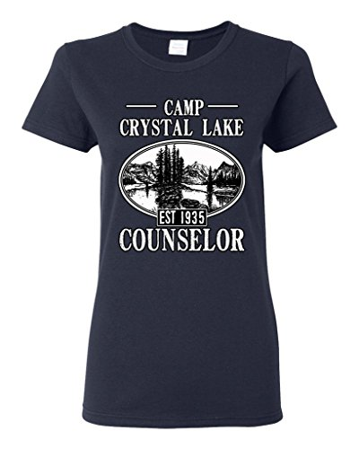 Ladies Camp Crystal Lake Counselor 1935 Summer TV Parody Funny DT T-Shirt Tee (Medium, Navy Blue) (Crystal Maternity Tee)