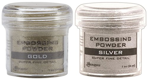 Gold & Silver - 2-Pack Variety - Ranger Embossing Powder, 1 Jar Super Fine Gold + 1 Jar Super Fine Silver by Ranger
