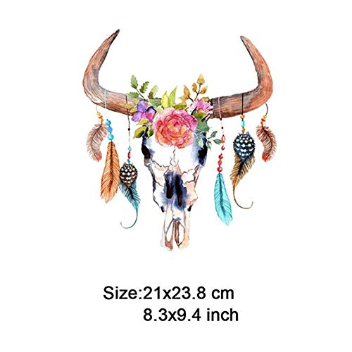 Max Corner Bull Skull Feather Iron On Patch,Lion Unicorn Deer Fox Flower Patch Heat Transfer Or Sew for Cloth Embroidery DIY (3) ()