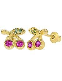 18k Gold Plated Fuchsia & Green Crystal Cherries Screw Back Girls Kids Earrings