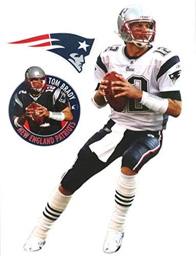 - FATHEAD Tom Brady Mini Graphic + New England Patriots Logo Official NFL Vinyl Wall Graphics 7