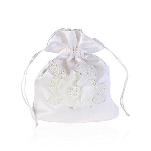 White Satin Flower Decorated Bridal/Flowergirl Purse Money Bag (Satin Flower)
