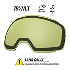 REPLACEMENT LENS Different VLTs for different weather conditions. Over 20 different colored lenses, including 3 polarized options.CHOOSE YOUR STYLE More than 20 different colors. IMAGINE a unique style for each day in the slope!ANTI-FOG TECHN...