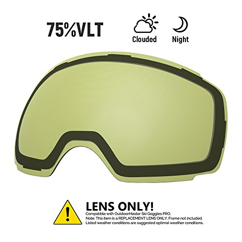 (OutdoorMaster Ski Goggles PRO Replacement Lens - 20+ Different Colors ( VLT 75% Polarized Yellow Lens with Free Carrying Pouch ))