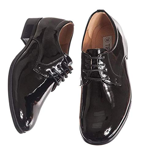 Image of Round Toed Black Shiny Tux Shoes for Infants, Toddlers, and Boys (Todd 8)