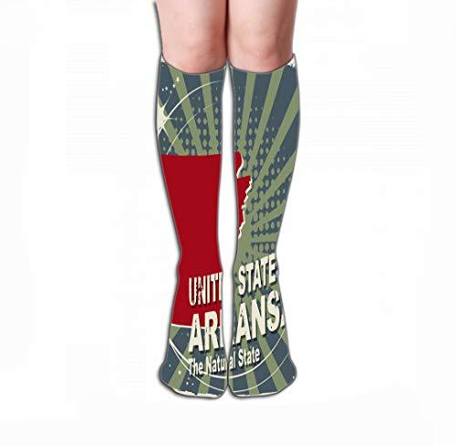 (Xunulyn Men Women Outdoor Sports High Socks Stocking Abstract Label Name map Arkansas Tile Length 19.7