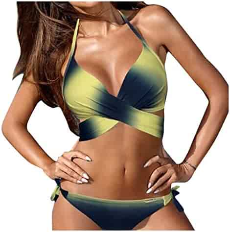 f506d15f93088 Hessimy Womens Sexy Swimwear Halter Padded Top Push Up Bikini Set Two Piece  Swimsuits Bathing Suits