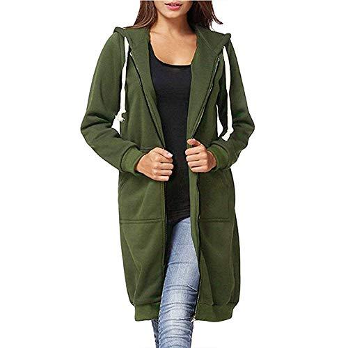 DUOYANGJIASHA Women's Long Hoodies Tunic Winter Fleece Jackets Knitted Casual Sweatshirt Zip Up Hoodies