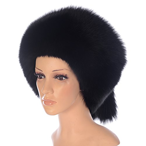 Ysting Women's Mongolian Genuine Fox Fur Hat with Tail Russian Style Winter Hats (Black) by Ysting&CO