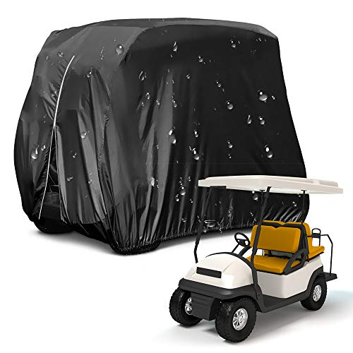 Metacrafter Golf Cart Cover, Waterproof Dust Sun Proof Golf Cart Cover for 4 Passenger Seat Fit EZ GO,Club Car Precedent,Yamaha Drive Easy-On Golf Carts Cover with Rear Zipper Up to 112 Inch