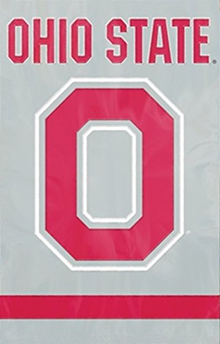 """Party Animal AFOSU2 Ohio State Block O Applique Banner Flag, Oversized 44"""" x 28"""" true 2-sided"""