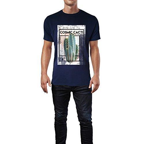 SINUS ART® Kosmischer Kaktus mit Typografie Herren T-Shirts in Navy Blau Fun Shirt mit tollen Aufdruck