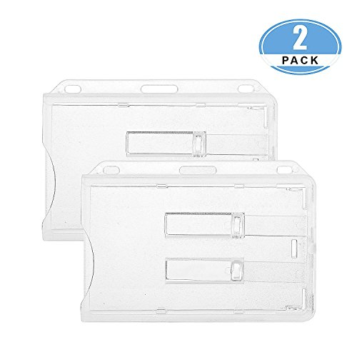 JUMI ID Card Name Badge Holder (Holds 2 Cards) 3x4 Inchs Horizontal Hard Plastic Heavy Duty Transparent Polycarbonate Dual Slide out Tabs 2 Pack
